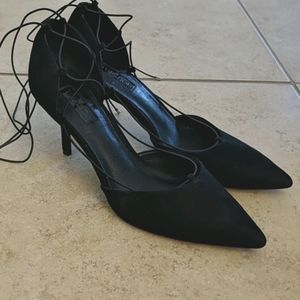 Topshop Lace Up Strappy Black Heels - Size 8/38